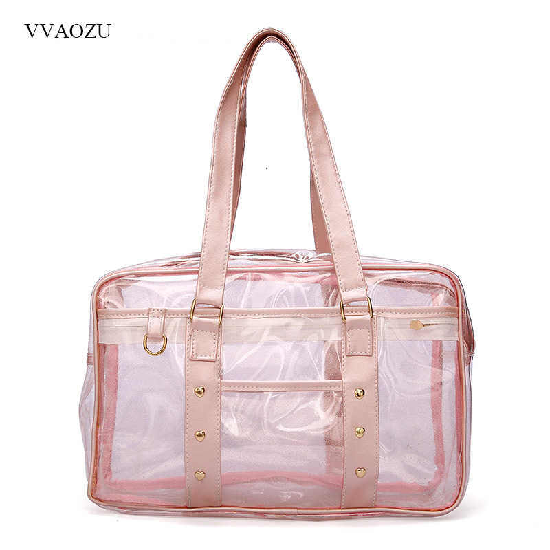 Japanese Preppy Style Girl PVC Transparent JK Uniform Handbag Anime Student Shopping Tote Bag Ladies Designer Cute Beach Bags
