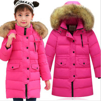 Ywstt 2017 Boys duck down outerwear Boys Girls winter jacket Girls coat with fur hood long warm thick winter coats