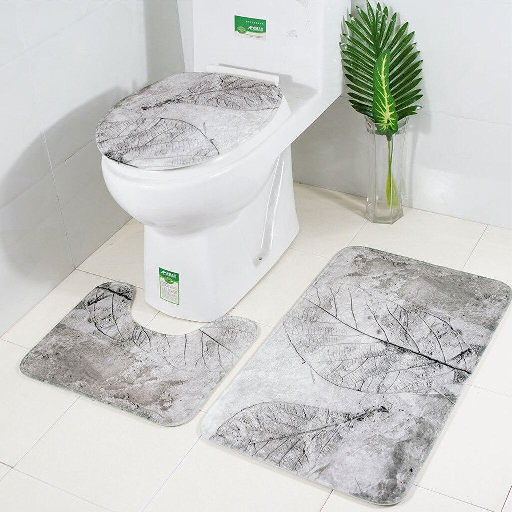 3pcs Bath Mats Bathroom Carpet Anti Slip Toilet Pattern Flannel Toilet Seat Cover Set Kitchen Carpet Doormats Decor