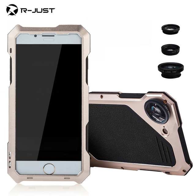 best loved 94625 07e2f US $21.0 25% OFF|Original R just Phone Case For iPhone 7 8 Plus Macro Lens  Camera Case Metal Waterproof Shockproof Cover 3 in 1 micro lens Brand-in ...