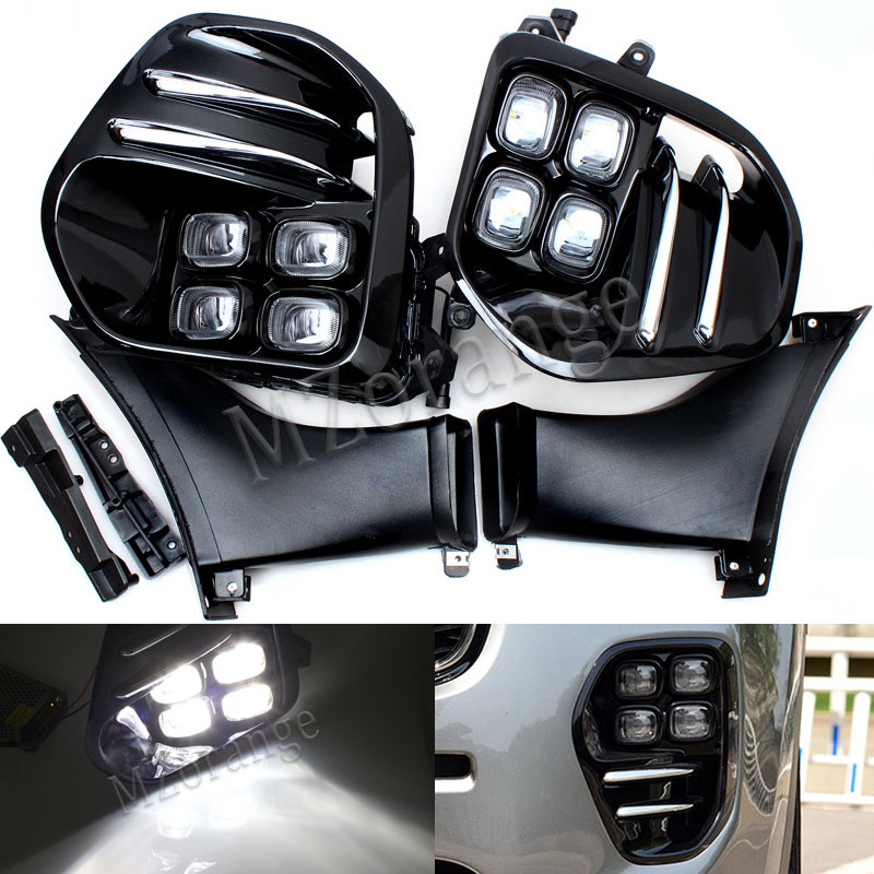 Car For KIA Sportage QL kx5 2016 2017+ For KIA KX5 LED Fog Light Lamp Daytime Running Light Set Auto Car White LED DRL Light 2 pcs set stainless steel car air vent circle trim air conditioner protection sticker for kia sportage kx5 ql 2016 2017 parts