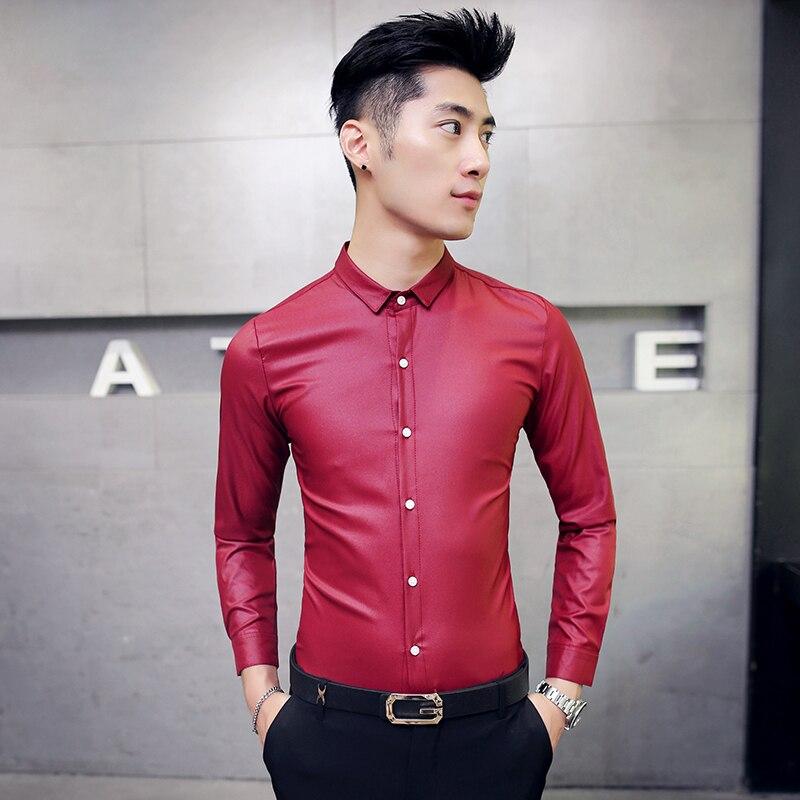 2016 Camisas Para Hombre Rojo Negro Brillante Trajes de la Etapa ...