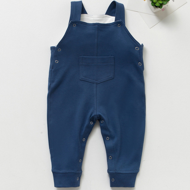 bdc10a01c76b 4 Colors 2018 Autumn Baby Rompers Cotton Toddler Boys Bib Pants Outfits  Infant Jumpsuits Solid Newborn Girls Pocket Overalls