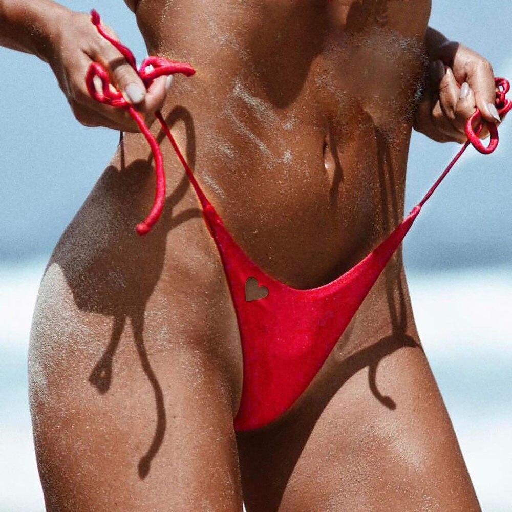 Swimwear Women 2019 Sexy Cheeky Bikini Bottom Two-Piece Separates brazilian bikini bottoms Thong Swimsuit Heart Cut Biquini Swim