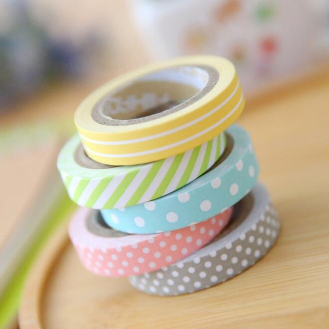 5pcs/pack  Novetly Rainbow Striped Dots Washi Tape DIY Decorative Color Paper Adhesive Tape Papelaria Label Masking Sticker Tape