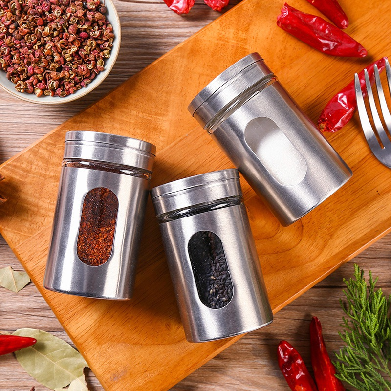 Stainless Steel Spice Jar Salt Pepper Sugar Seasoning Jars Adjustable Rotating Cover Storage Containers Kitchen Tools