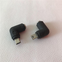 100pcs/lot 90 Degree DC 5.5*2.1mm Female to Mini USB B Male Adapter Converter Jack Plug Black