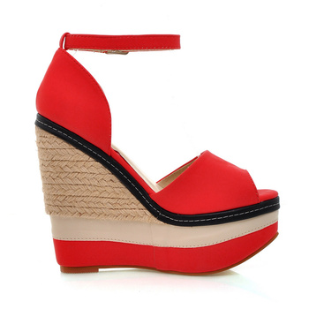 WETKISS Sexy Open toe Weave Patch Color Wedges Gladiator Sandals Women High Heels Platform Sandals Summer Women's Shoes Woman 6