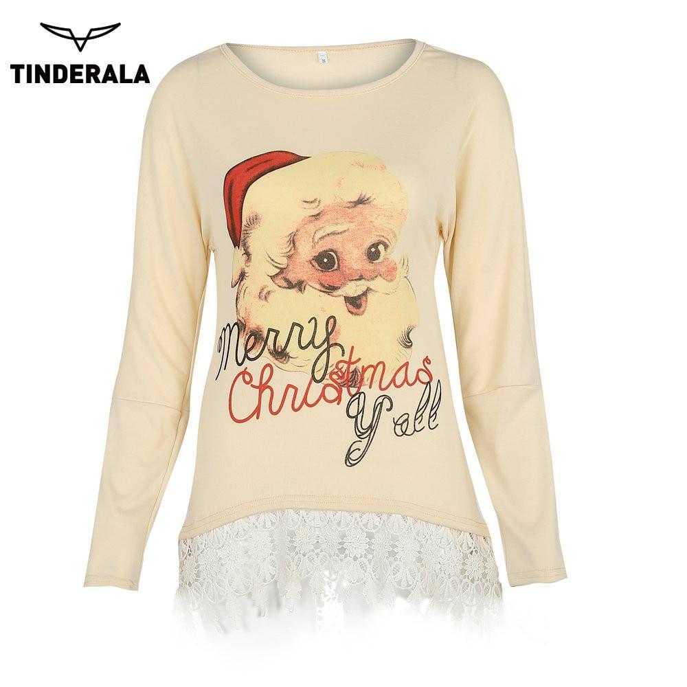 Women Christmas T shirt 2017 Autumn Winter Long Sleeve Shirt Cute Santa Claus Pattern Female Casual Loose Tees Clothing Femme