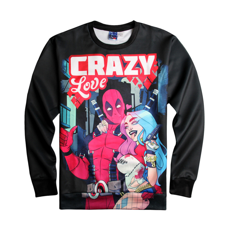 Unisex Deadpool Harley Quinn 3D Printing Long-Sleeve Roud-Neck Hoodies Women Men Casual Lover Couple Top