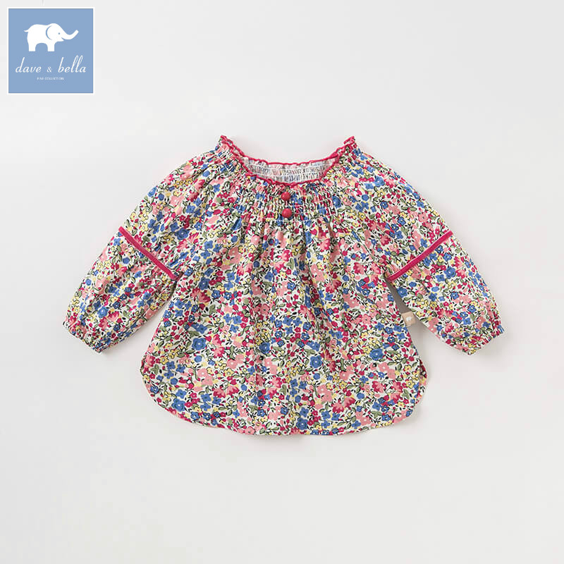 DBA8010 dave bella autumn baby girls floral shirt kids cotton sweet tops children high quality blouses db5884 dave bella autumn infant baby girls fashion t shirt kids 100% cotton lovely tops children high quality tee