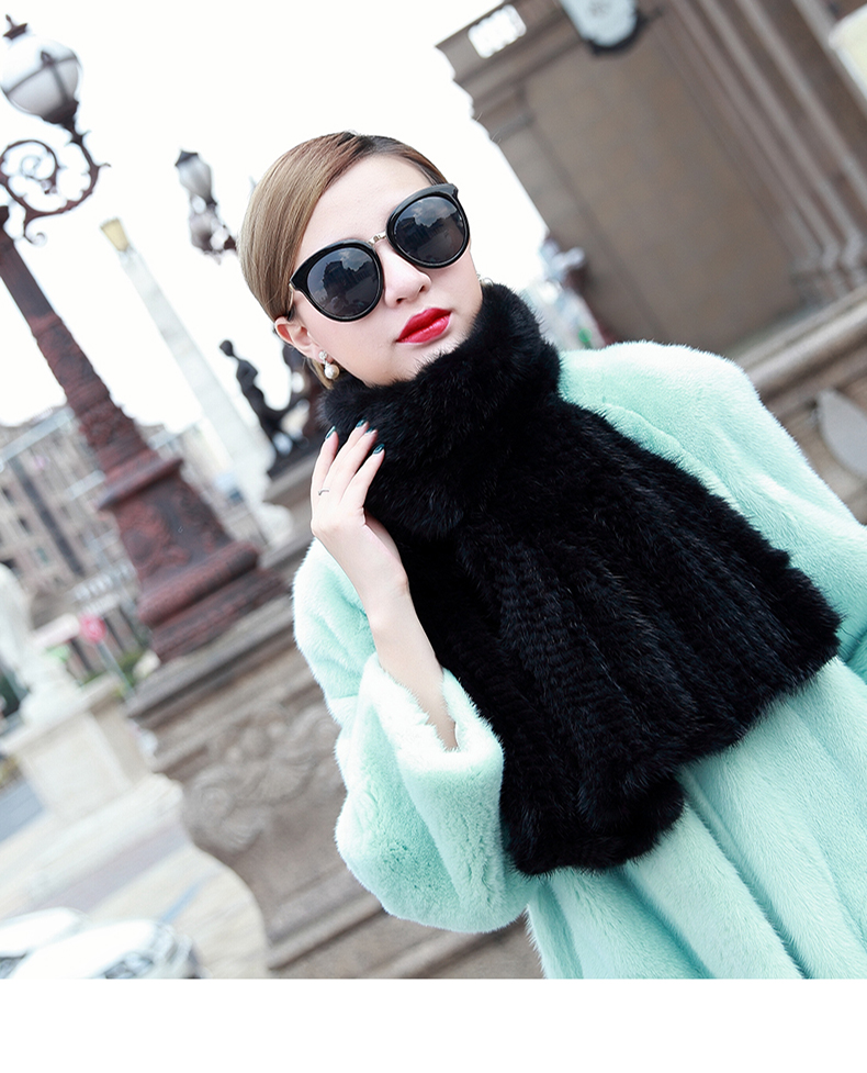 Natural Real Mink Fur  Knitted Fur Scarf Autumn And Winter Male Women's General Luxury Thickening Fish Tail