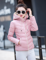 Women Winter Jackets 2017 Short Outerwear Solid Color Hooded Wadded Winter Coat Big Yard Leisure High