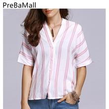 цена на 2019 Summer Fashion Women Striped Top Short Sleeve Tee V-neck Shirts Casual Tops et Chemisier Femme Blusas Ladies Clothing C143
