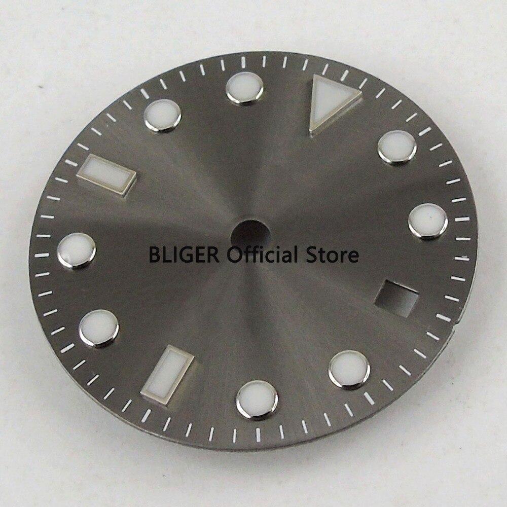 28,5mm Dark Grau Datum Fenster Luminous Marks Uhr Zifferblatt Fit Für Miyota Mingzhu 2813 Automatische Bewegung D124