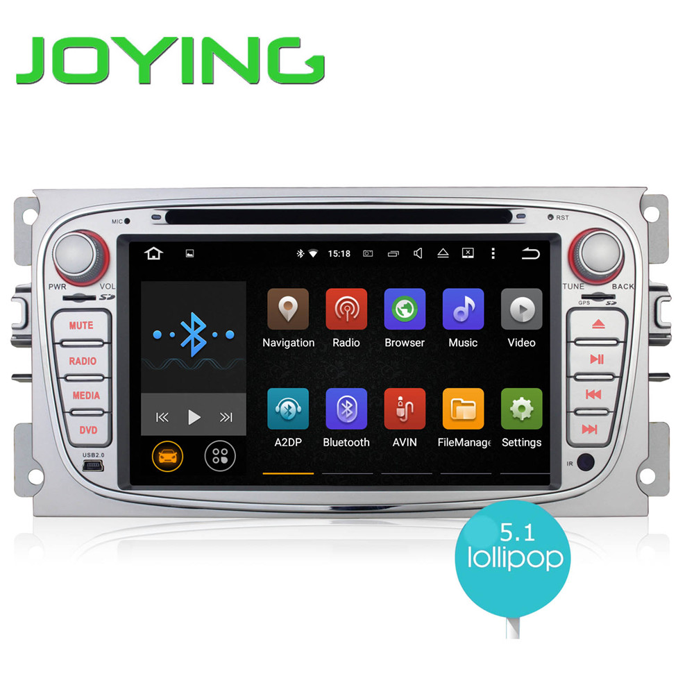 Double 2 din 7 inch quad core car dvd player for ford focus android 5 1 gps