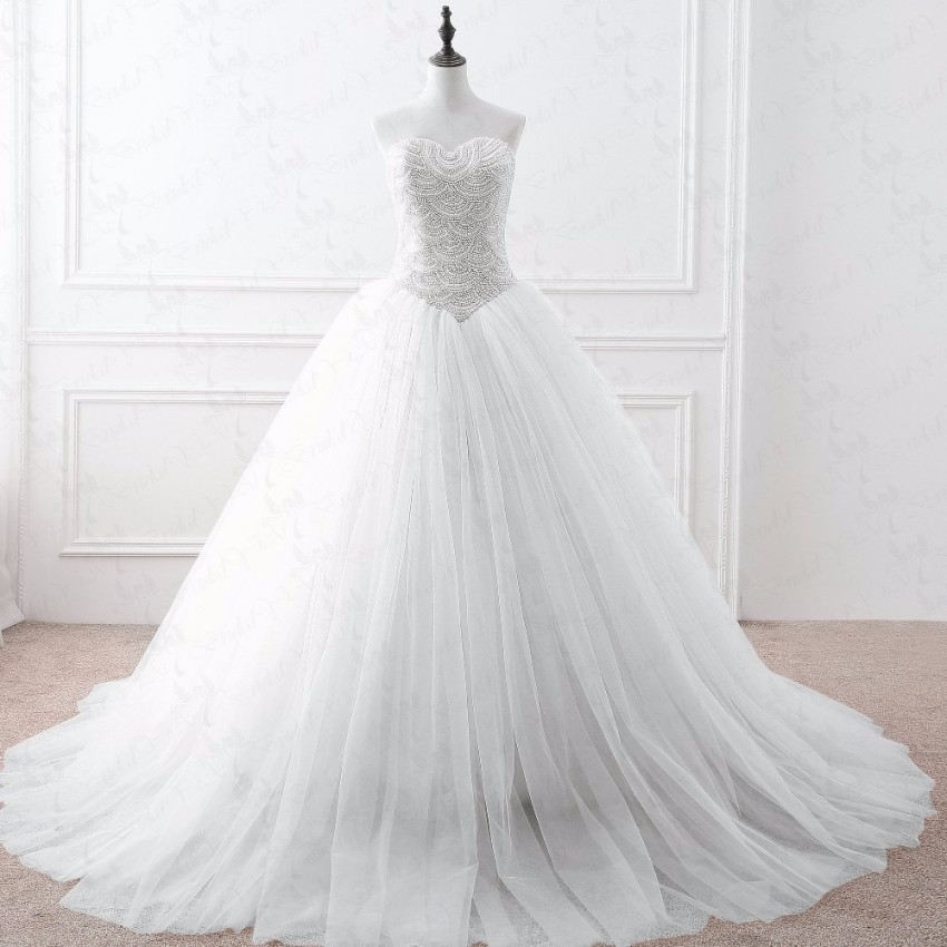 2017 New Sweetheart Ball Gown Color Accented Sweep Pearls Beaded ...