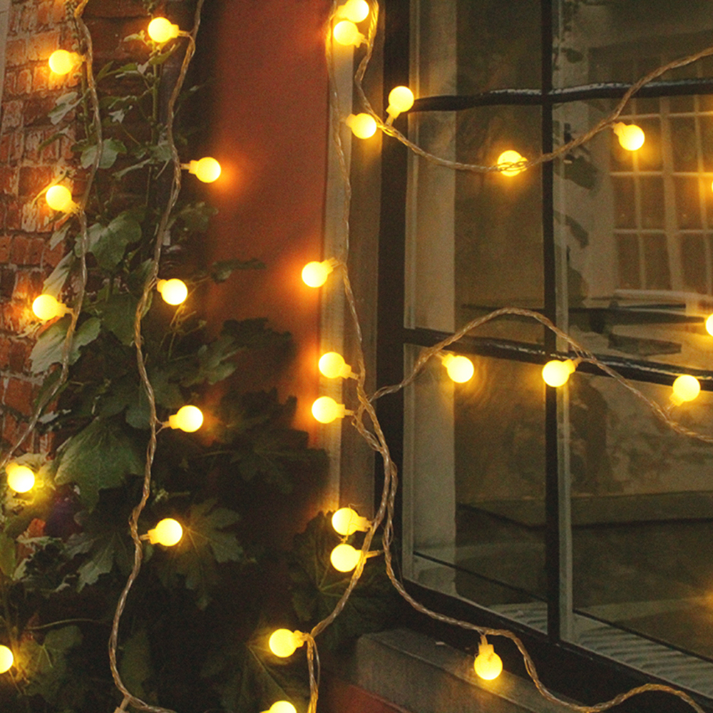 led fairy lights outdoor battery operated 20 warm white balls string lights waterproof ip44. Black Bedroom Furniture Sets. Home Design Ideas