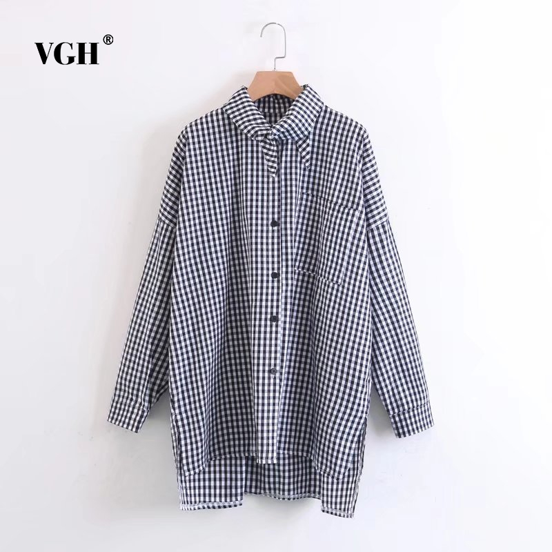 VGH 2017 Boyfriend Style Pearls Beading Striped Loose Shirts Oversized Pocket Pleated Blouse Casual Long Tops