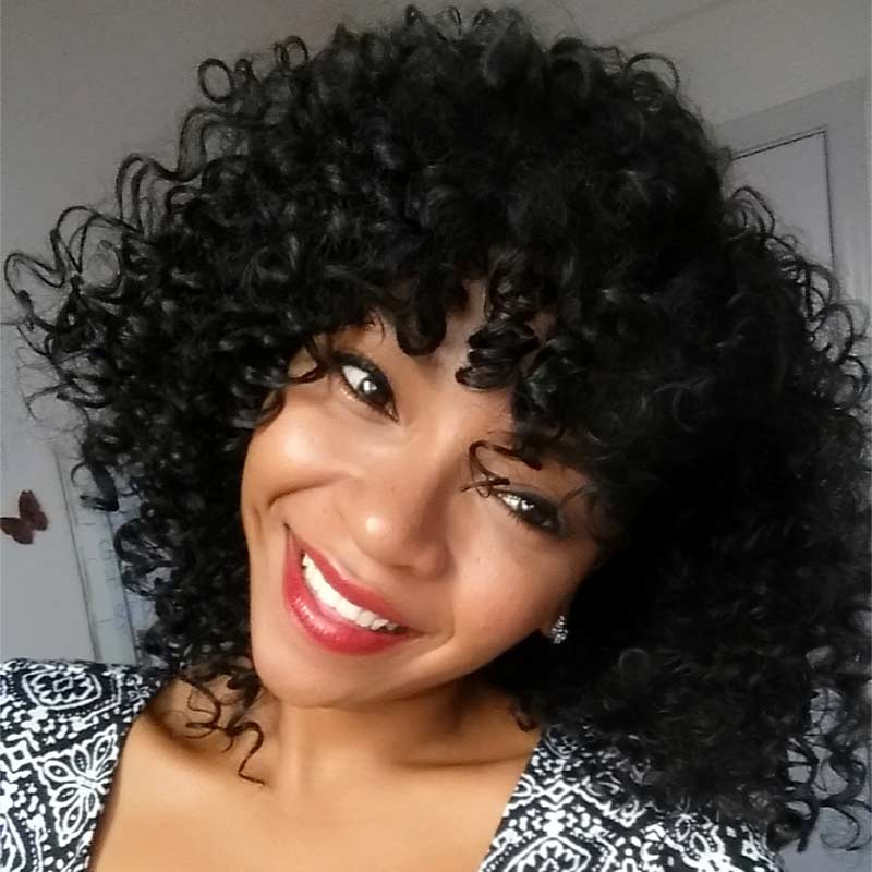 Short Afro Kinky Curly Wig Synthetic Wigs For Black Women