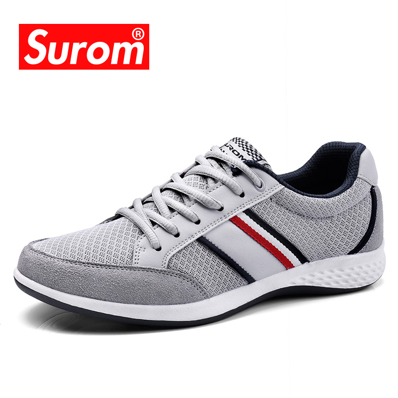 SUROM Summer Men's Shoes Breathable Leather Mesh Casual Shoes Men Luxury Brand Fashion Footwear Spring Autumn Shoes Sneakers Men mvp boy brand 2018 new summer mesh air mesh men breathable loafers black shoes spring lightweight fashion men casual shoes