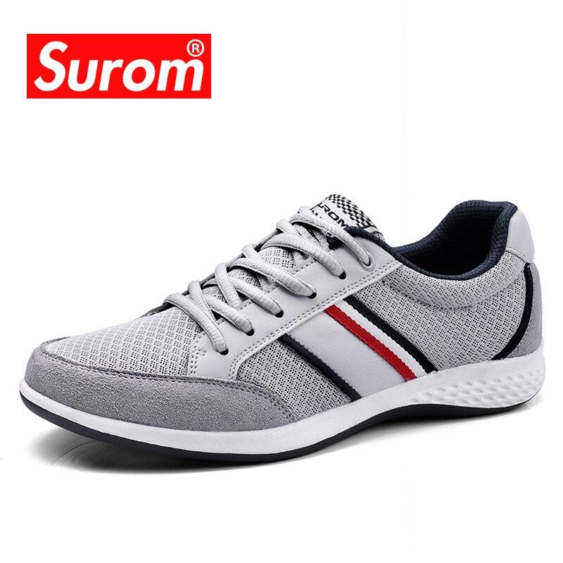 SUROM Лето Для мужчин Мужская обувь дышащая кожа сетка повседневная обувь Для мужчин Элитный бренд модная обувь весенне-осенняя обувь кроссовки Для мужчин