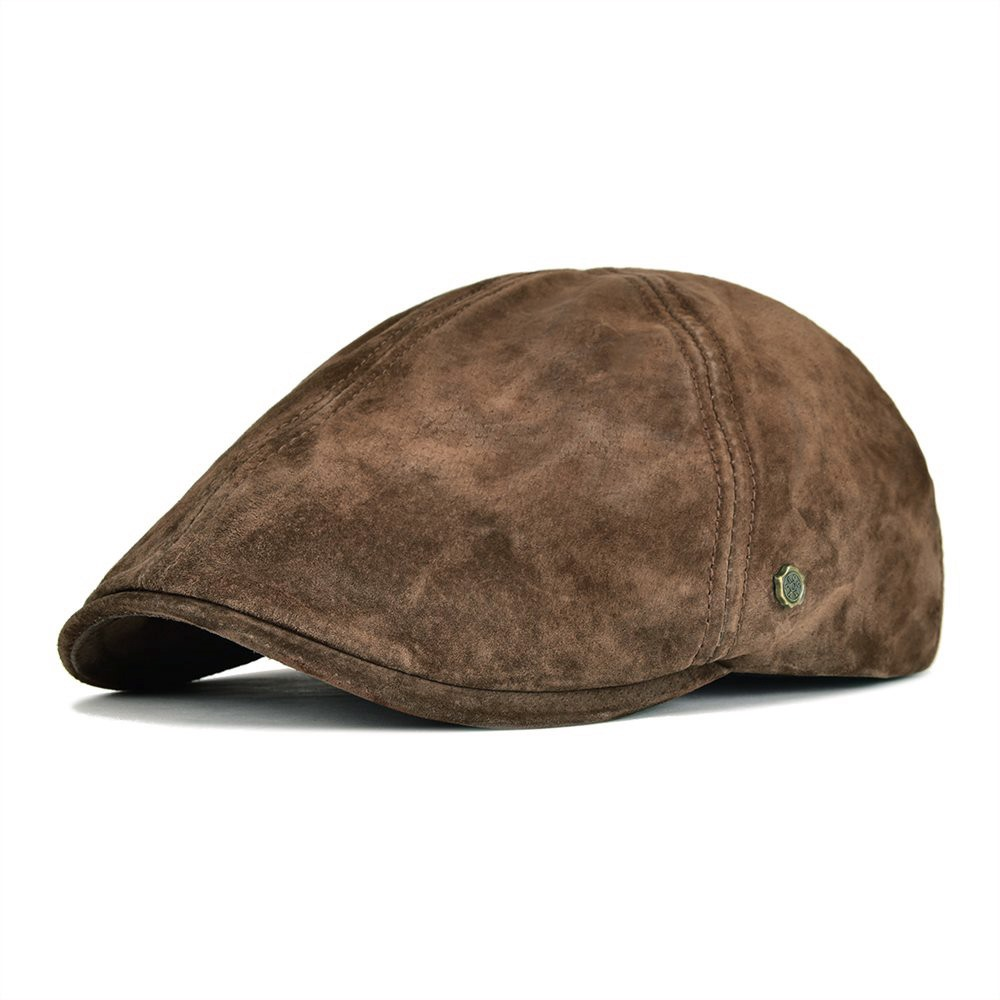 cbc13e2a8c9 VOBOOM Suede Leather Newsboy Cap Men Women Frosted Nubuck Pigskin 8 Panel  Gatsby Baker Hat with Lining 158