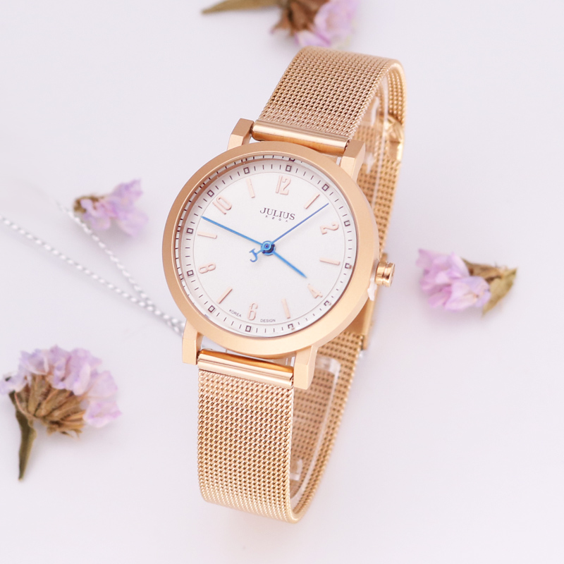 Julius Lady Women's Watch Japan Quartz Couple Hours Fine Fashion Clock Stainless Steel Band Girl Birthday Lovers' Gift new simple cutting glass women s watch japan quartz hours fashion dress stainless steel bracelet birthday girl gift julius box
