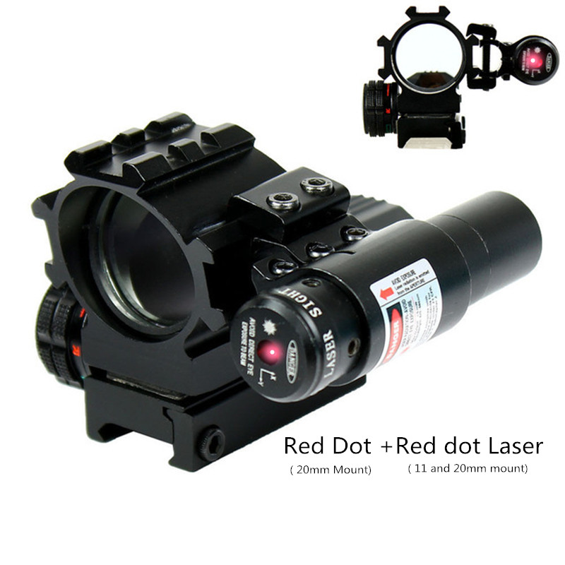Hunting Tactical Red Green Sight Scoeps 4 Reticles Reflex Red Dot Laser Sight Combo Airsoft Air