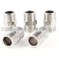5pcs Male 1 2 PT To Male 1 2 PT Stainless Steel Straight Pipe Fitting Connector