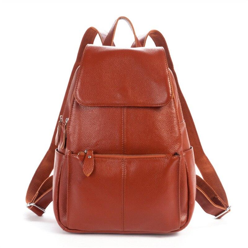 Nesitu High Quality Fashion Black Brown Real Skin Genuine Leather Cute Women s Backpack Female Girl