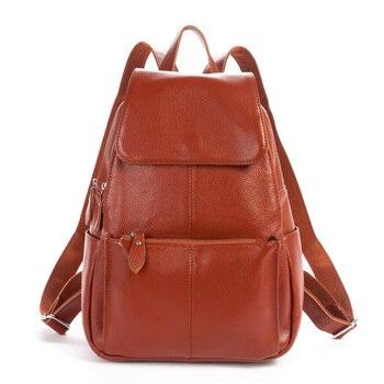 Nesitu High Quality Fashion Black Brown Real Skin Genuine Leather Cute Women's Backpack Female Girl Backpack Lady Travel Bags M2