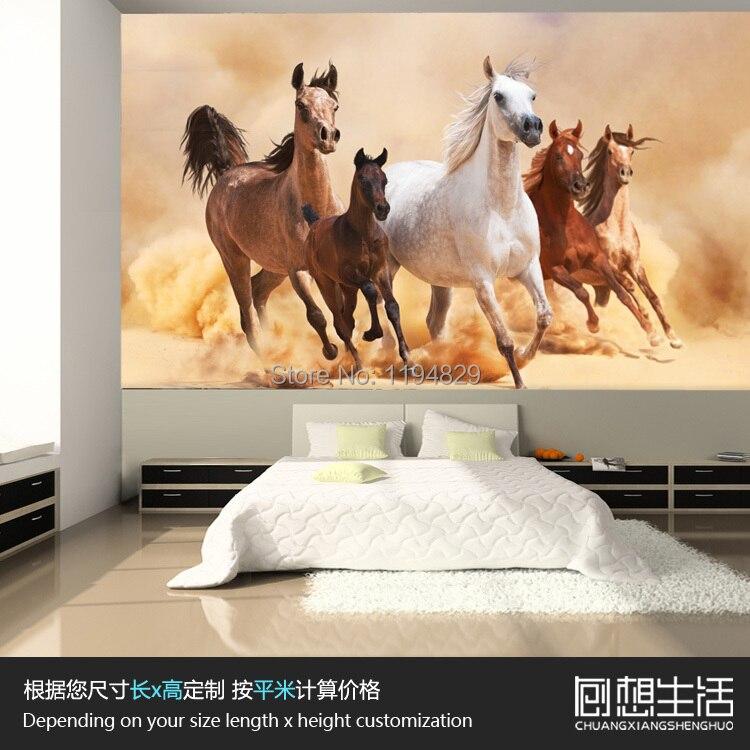 3D Nature Running Horse Animal Large Mural Wallpaper TV Sofa ...
