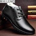 Wikileaks Новый Зима Теплая Горячие Мужчины Случайные Хлопка Качество отца обувь Мужская босоножки Из Замши Меховой Обуви Мужчины Обувь Густой Снег сапоги