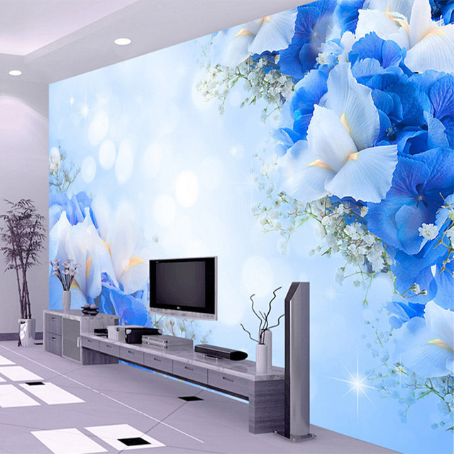 Fantasy Fashion Blue Flowers Wallpaper 3D Stereo Living Room TV Sofa  Backdrop Mural Modern Home Decor