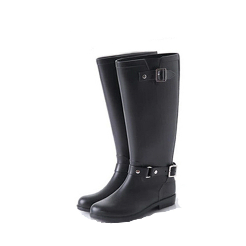 High Hasp Red Zipper Women Rain boots Motorcycle Boots Riding Boots Black Big Plus Size 40 41 Rubber Boots rubber high red zipper boots horse riding gumboots rainboots women rain boots botte de pluie stivali donna wellies bot