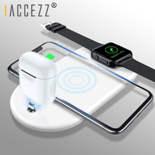 ! ACCEZZ 3 في 1 10 W 7.5 W تشى سريع شاحن الهاتف اللاسلكي ل iphone 8 زائد X XS ماكس XR ل AirPods لسامسونج الإضاءة شحن