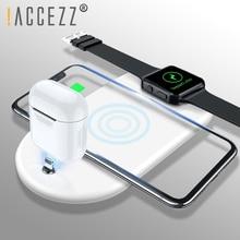 ! ACCEZZ 3 in 1 10 W 7.5 W Qi ไร้สายชาร์จโทรศัพท์สำหรับ iphone 8 Plus X XS MAX XR สำหรับ AirPods สำหรับ Samsung แสงชาร์จ