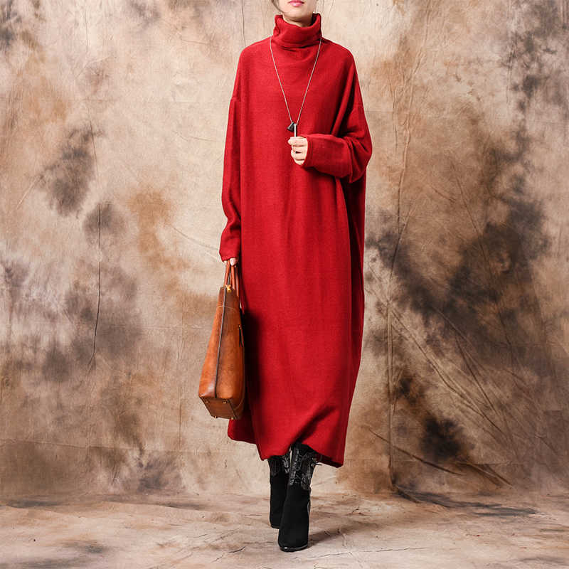 Новинка 2019 года, осенне-зимнее платье-свитер, Офисная Женская вязаная Водолазка с длинным рукавом, однотонные плотные женские свитера
