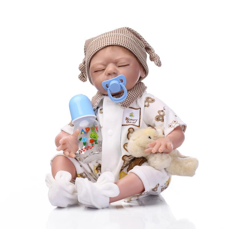 55cm Silicone reborn baby sleeping boy doll toy lifelike newborn babies doll with bear girls bonecas birthday gift present