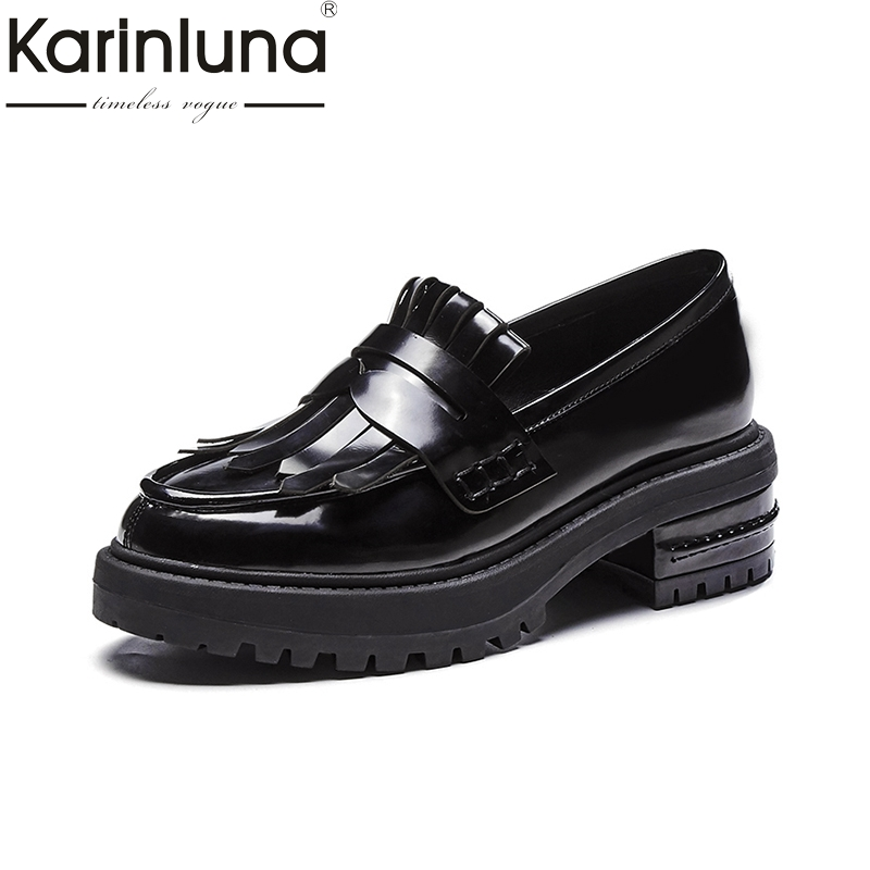 KARINLUNA Sweet Spring And Autumn Genuine Leather Loafers Slip On Pointed Toe Square Heel Comfortable Black Shoes Women Shoes women genuine leather slip on pointed toe lazy shoes sweet bow knot shallow party spring autumn women pumps black pink