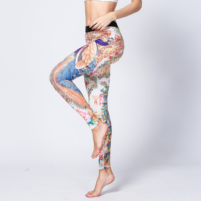 2017 Printed Women s Sports font b Fitness b font Elastic Leggings Stretched Gym Athletic Quick