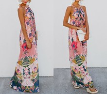 Summer Boho Sexy Backless Floral Print Dress Women MaxiDresses Holiday Sleeveless Beach
