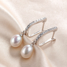 Top Sale natural pearl earrings,fashion925 sterling silver jewelry, Women Dangle Drop Earrings for Wedding/Party 3 colors