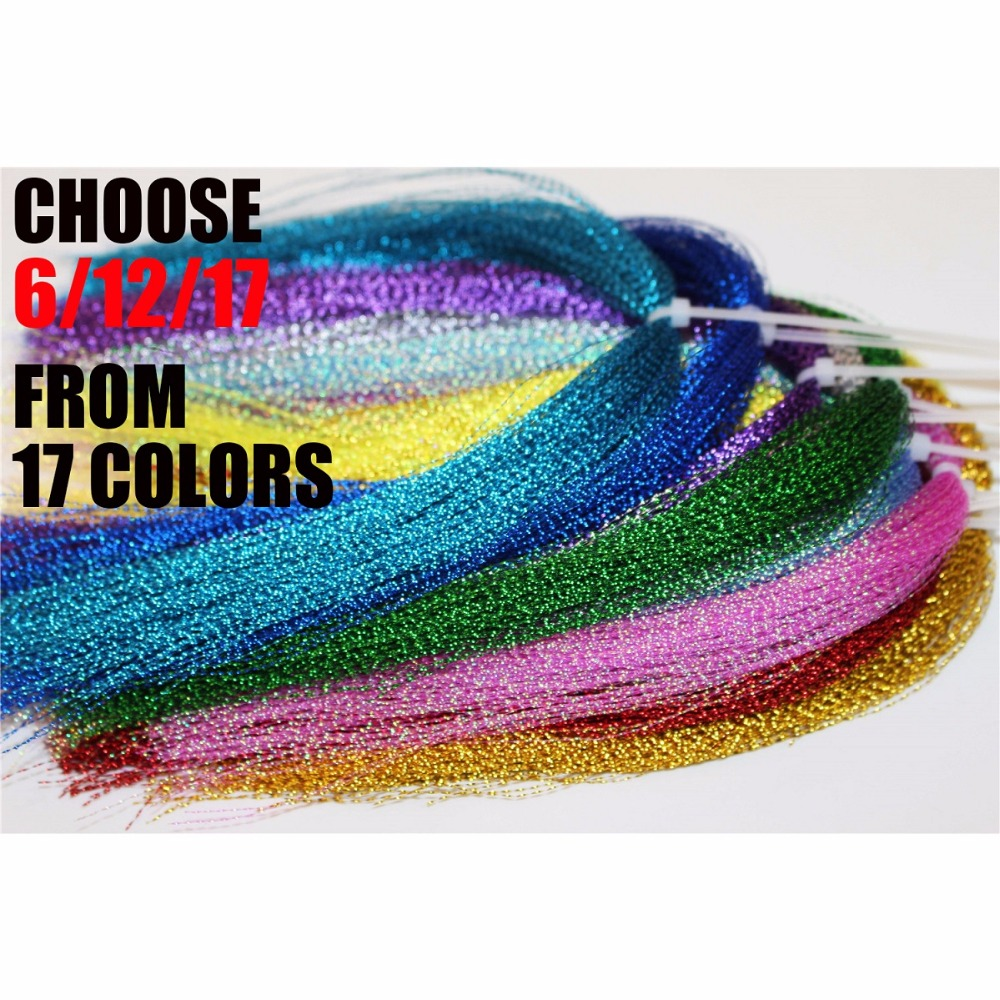Tigofly 17 Colors Crystal Flash Holographic Tinsel Krystal Flashabou Sparkle Dry Streamer Fly Fishing Tying String Materials 5sheets pack 10cm x 5cm holographic adhesive film fly tying laser rainbow materials sticker film flash tape for fly lure fishing