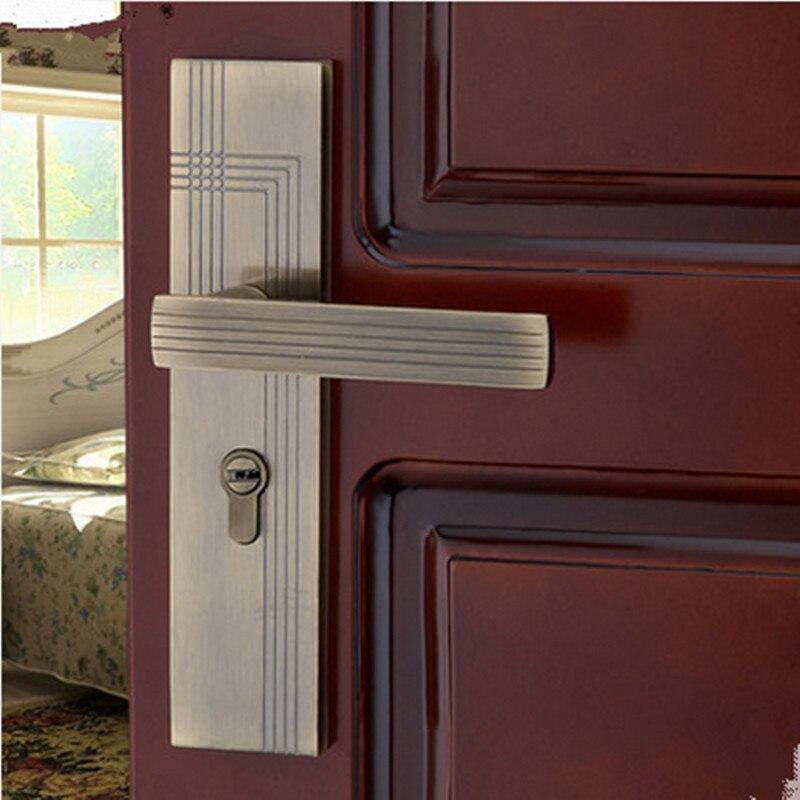 fashion European antique brass luxury bed room handle lock wood stainless wood door lock 2 latchs indoor handle lock free ship
