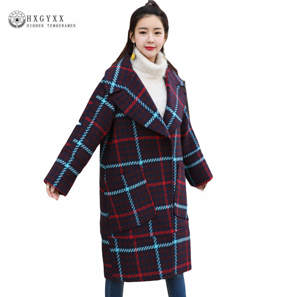 6958617beb0da Loose Lapel Collar Plus Size Plaid Woolen Jacket Winter Wool Coat ...