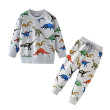 Dinosaur Children Kids Clothing Sets Cartoon Spring Cotton Shirt and Pants Boys Long Sleeve Clothing Suits Kids Winter Sets children clothing sets baby kids boy hoodie pure cotton long sleeve streetwear style clothing printing suits boys sweater black