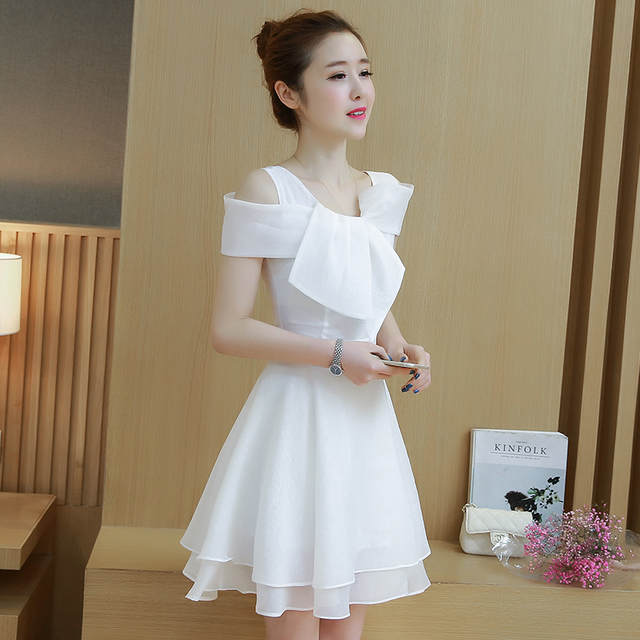 Women Chiffon Dress Dew Shoulder Summer Clothing New Korea Fashion Design  Sweet A-Line Party 2f059d4f9bfe