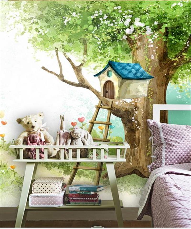US $13.36 55% OFF|Custom 3d foto tapete kinderzimmer wandbild baum haus  kaninchen cartoon malerei TV sofa hintergrund vlies tapete für wand 3d-in  ...